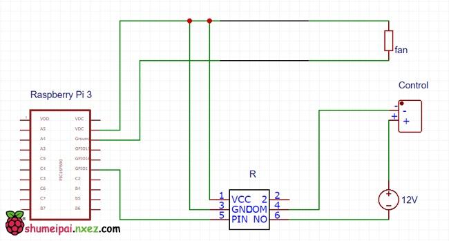 先用一张原理图来说明接线结构,如下图:  树莓派总共使用了三个引脚